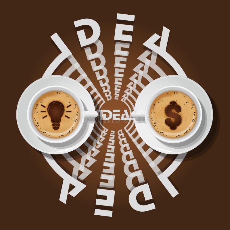 Tasses d'ampoule et de symbole dollar dans le cappuccino illustration libre de droits