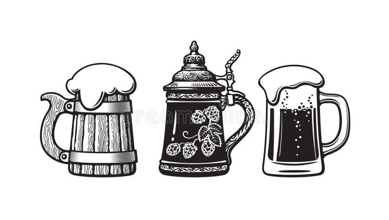 Tasses de bière de cru Vieille tasse en bois, chope en grès allemande et verre avec la mousse Brasserie, festival de bi?re, barre illustration de vecteur