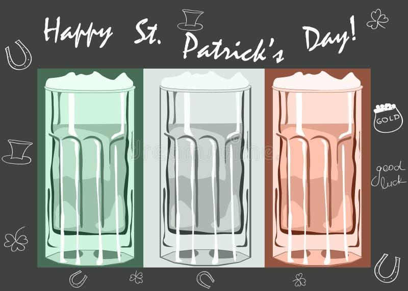 Tasses de bière de jour de Patricks de saint sur un tableau noir avec  illustration de vecteur