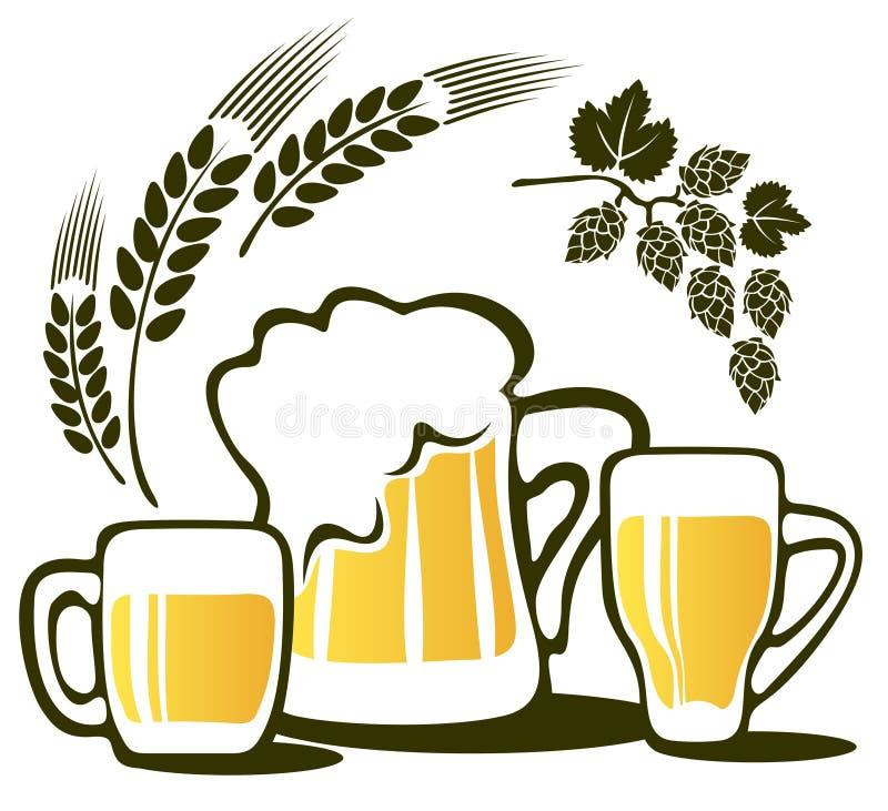 Tasses de bière réglées illustration stock