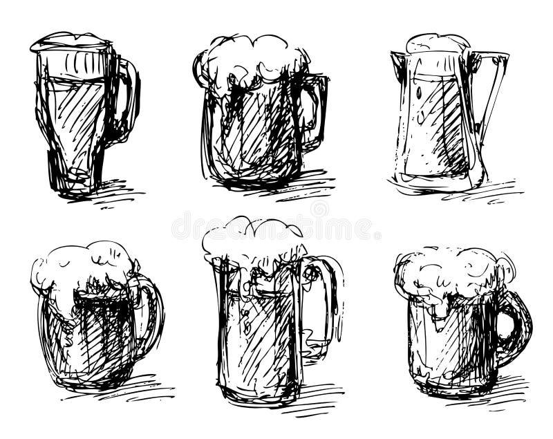 tasses de bière réglées illustration de vecteur