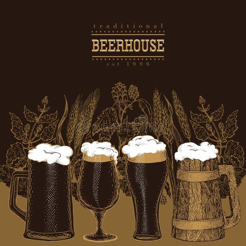 tasses de bière réglées Illustration de vecteur dans le style de croquis Calibre tiré par la main de bannière de bière cru images libres de droits