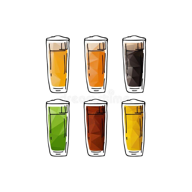 Tasses de bière set-05 illustration libre de droits