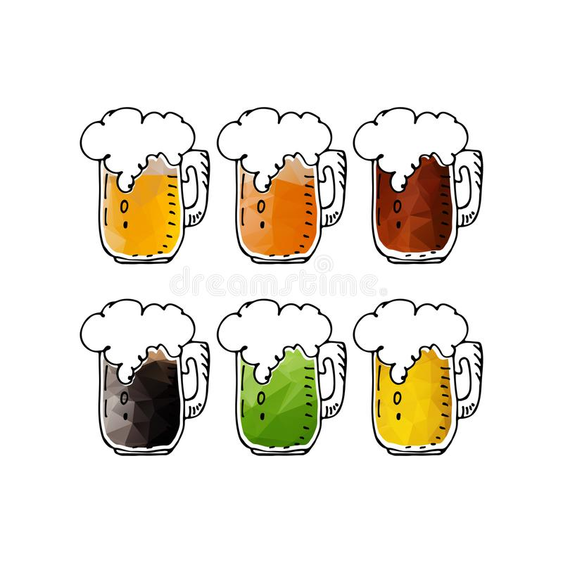 Tasses de bière set-07 illustration stock