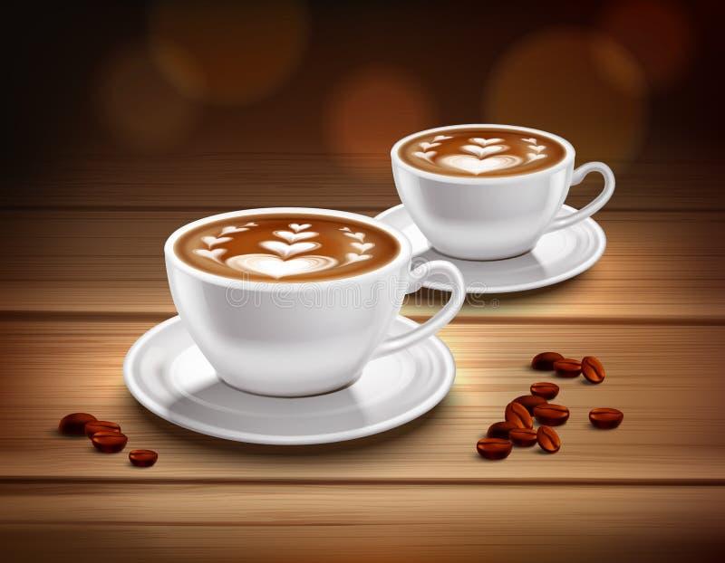 Tasses de composition de café de cappuccino illustration de vecteur