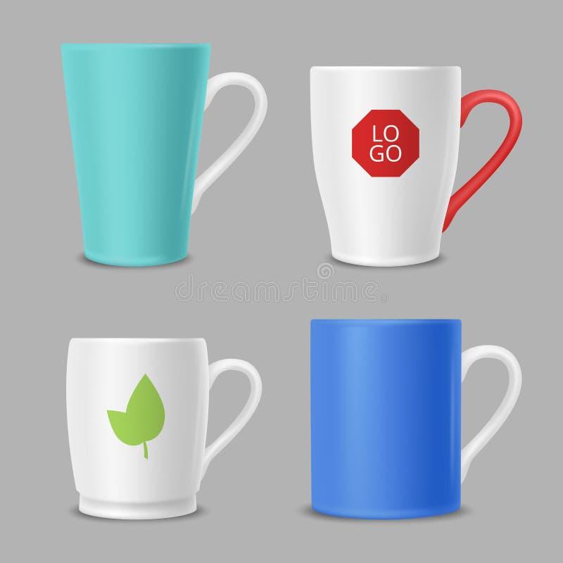 Tasses de maquette Tasses de bureau d'identité d'affaires avec le calibre de vecteur coloré par logos illustration stock