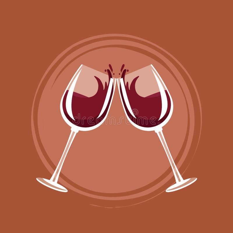 Tasses de pain grillé de vin illustration stock