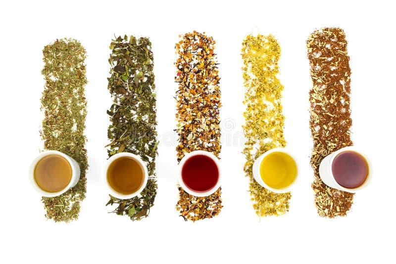 Tasses de thé avec de divers thés colorés photos libres de droits