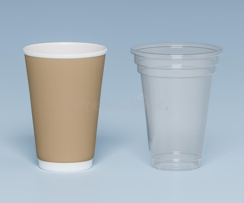 Tasses en plastique et de papier pour des boissons - illustration 3D illustration stock