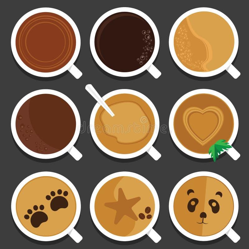 Tasses et tasses de café pour des amants de café illustration de vecteur