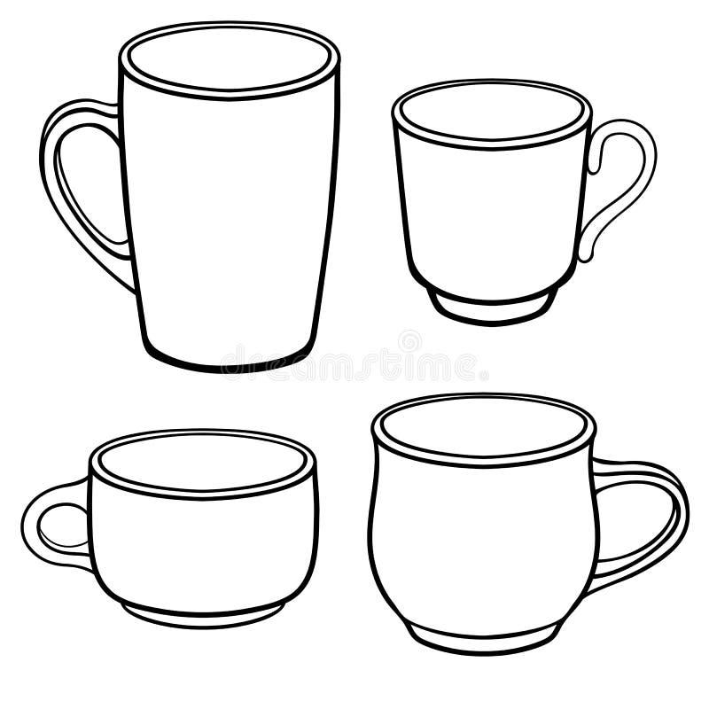 Tasses et tasses pour le café de différentes formes Un ensemble de calibres Dessin au trait Pour la coloration illustration libre de droits