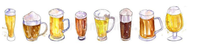Tasses et verres avec de la bière illustration libre de droits