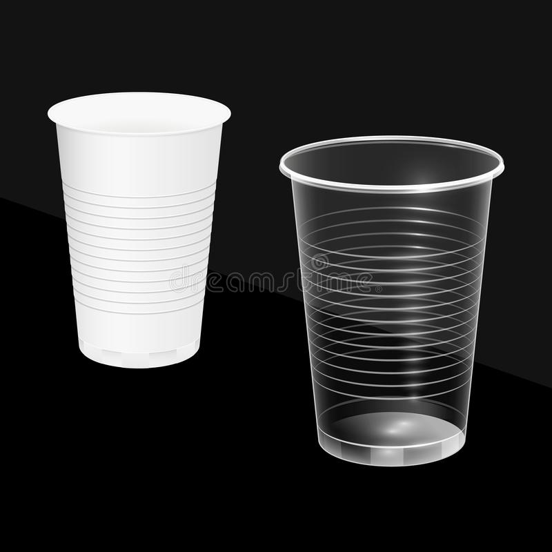 Tasses jetables, blanc et transparent Plats brûlables Illustration de vecteur illustration libre de droits