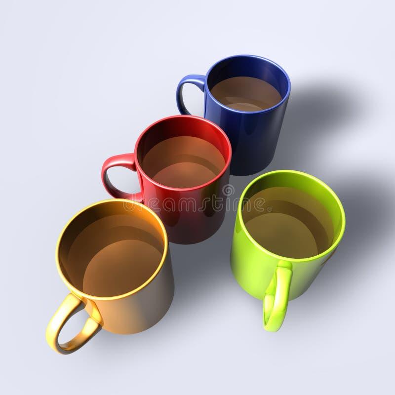 tasses lustrées colorées illustration de vecteur