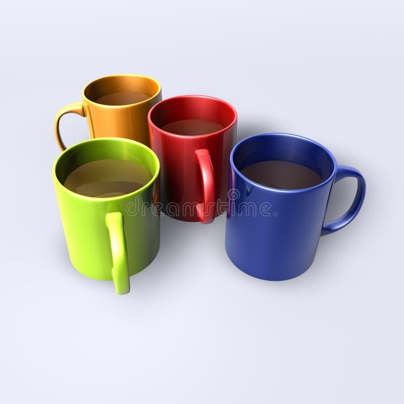 tasses lustrées colorées illustration libre de droits