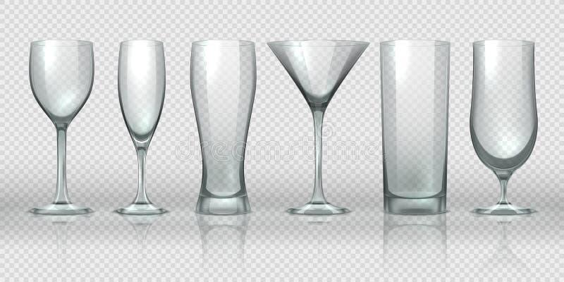 tasses vides transparentes Verres et maquettes transparentes vides de gobelet, pinte réaliste de l'ours 3D et la verrerie de cock illustration libre de droits