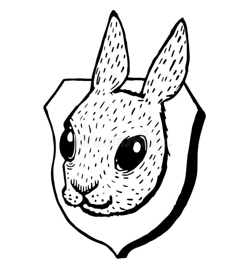 Tassidermia della testa del coniglio di lerciume illustrazione vettoriale