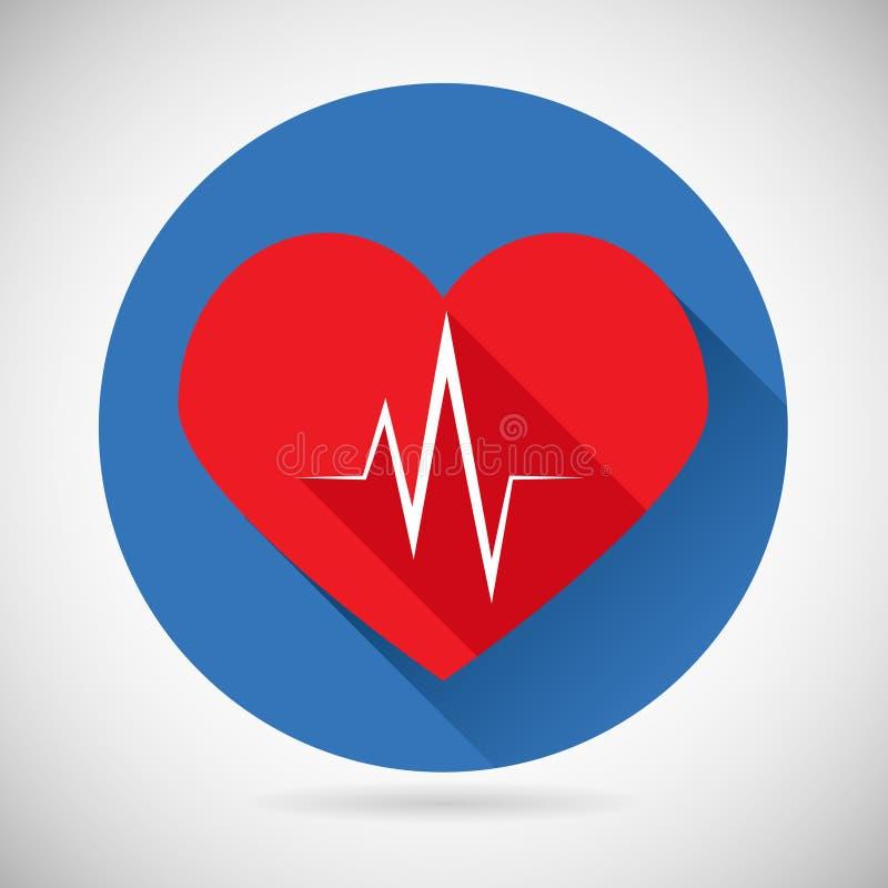 Tasso del battito cardiaco di simbolo di assistenza medica e di sanità illustrazione vettoriale