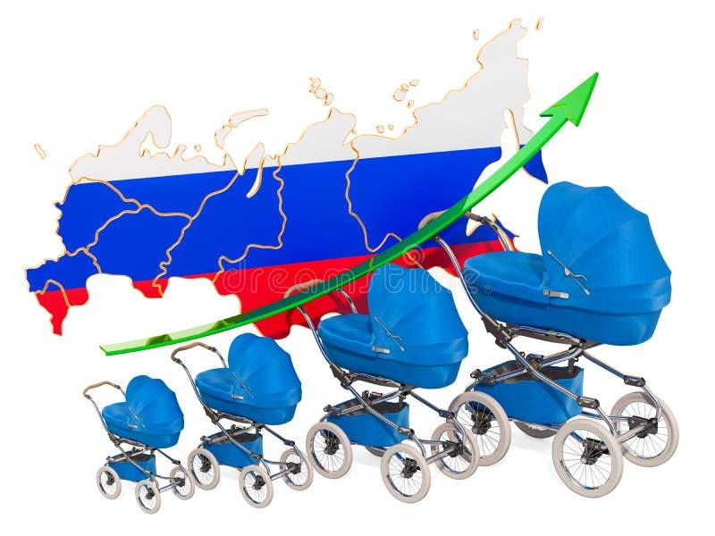 Tasso di natalità crescente in Russia, concetto rappresentazione 3d illustrazione vettoriale