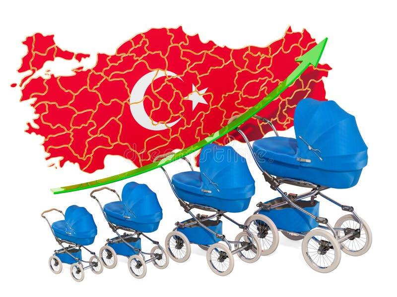 Tasso di natalità crescente in Turchia, concetto rappresentazione 3d royalty illustrazione gratis