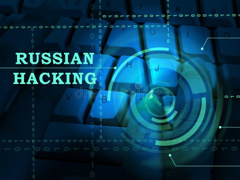 Tastatur, die russische Hacker-on-line--Illustration 3d zerhackt stock abbildung