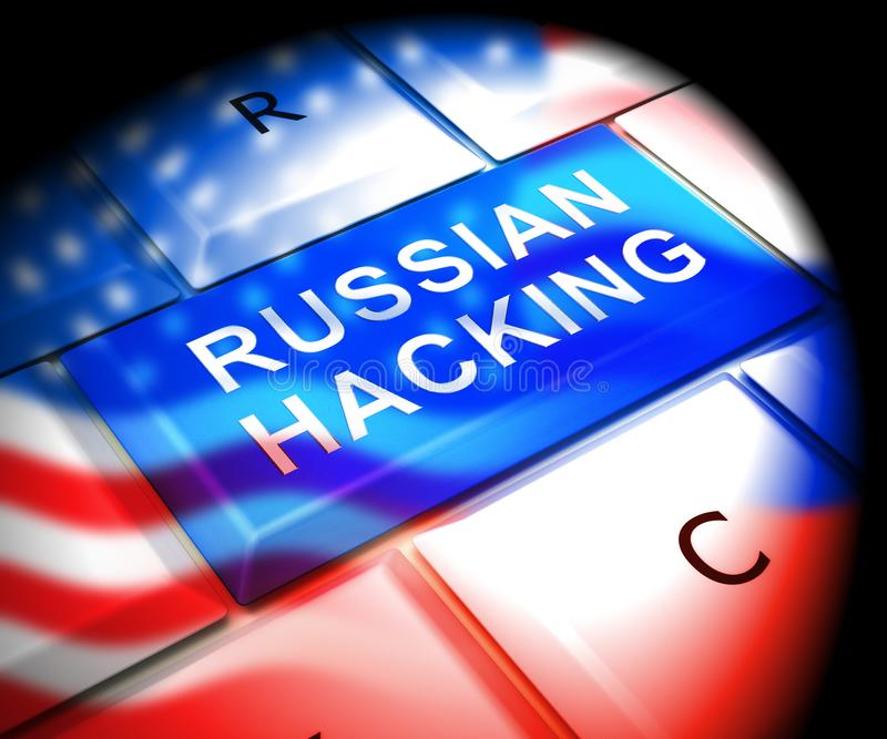 Tastatur, die russische Hacker-on-line--Illustration 3d zerhackt vektor abbildung