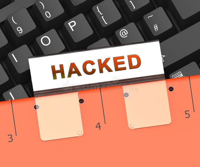 Tastatur, die russische Hacker-on-line--Illustration 3d zerhackt lizenzfreie abbildung
