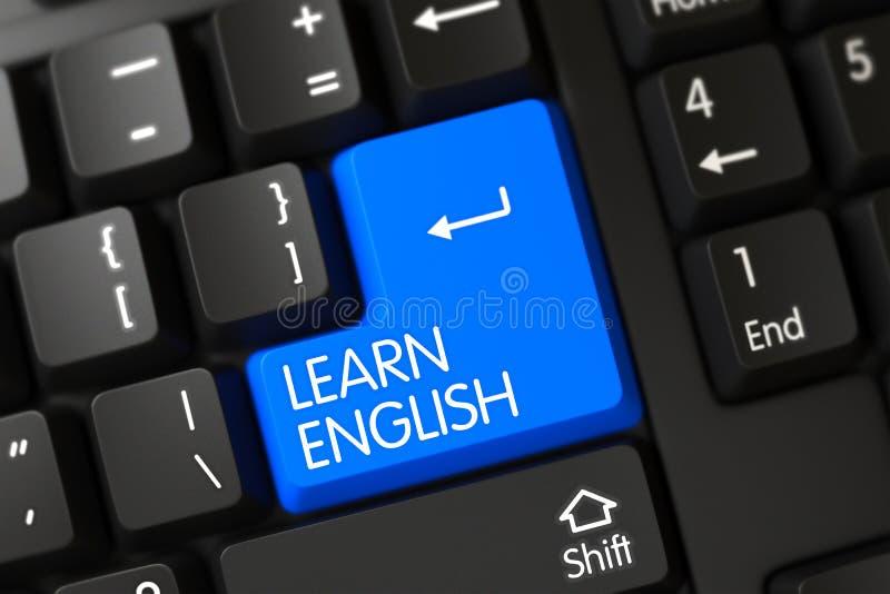 Tastatur mit blauem Schlüssel - lernen Sie Englisch 3d stockfotografie