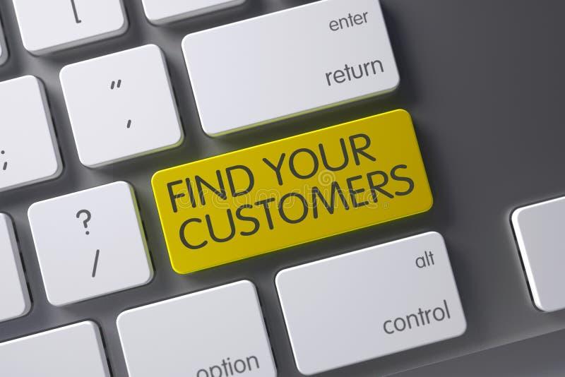 Tastatur mit gelbem Schlüssel - finden Sie Ihre Kunden 3d stockbilder