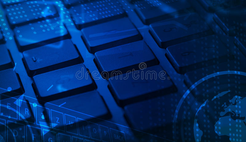 Tastatur mit glühenden Ikonen stock abbildung