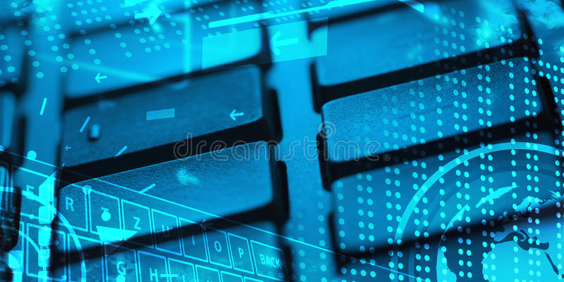 Tastatur mit glühenden Ikonen vektor abbildung