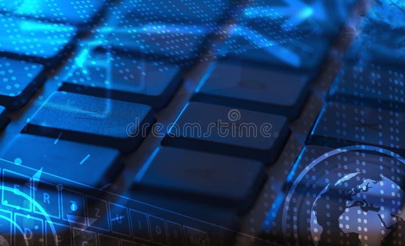Tastatur mit glühenden Ikonen lizenzfreie abbildung