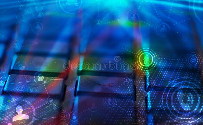 Tastatur mit glühenden Ikonen des Sozialen Netzes stock abbildung
