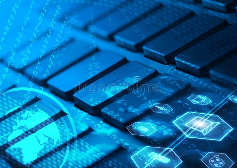Tastatur mit glühenden Multimediaikonen lizenzfreie stockfotografie