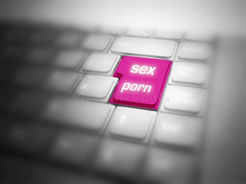 Tastatur mit großer markierter GESCHLECHTS-PORNOGRAFIE-Taste lizenzfreie abbildung