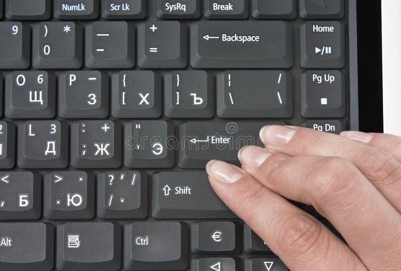 Tastatur und Finger stockbilder