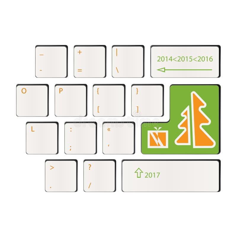 Tastatur - Zeit von Geschenken - guten Rutsch ins Neue Jahr lizenzfreie stockbilder