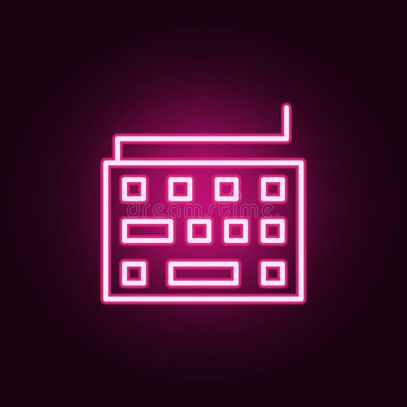 Tastaturikone Elemente des Netzes in den Neonartikonen Einfache Ikone für Website, Webdesign, mobiler App, Informationsgraphiken lizenzfreie abbildung