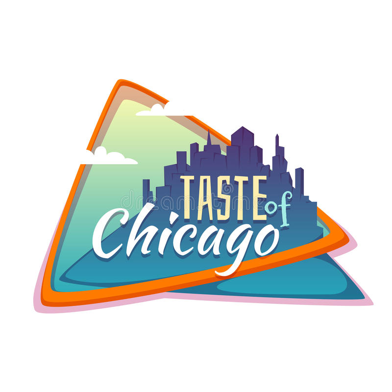 Taste of Chicago banner. Flat town with title. Vector illustration royalty free illustration