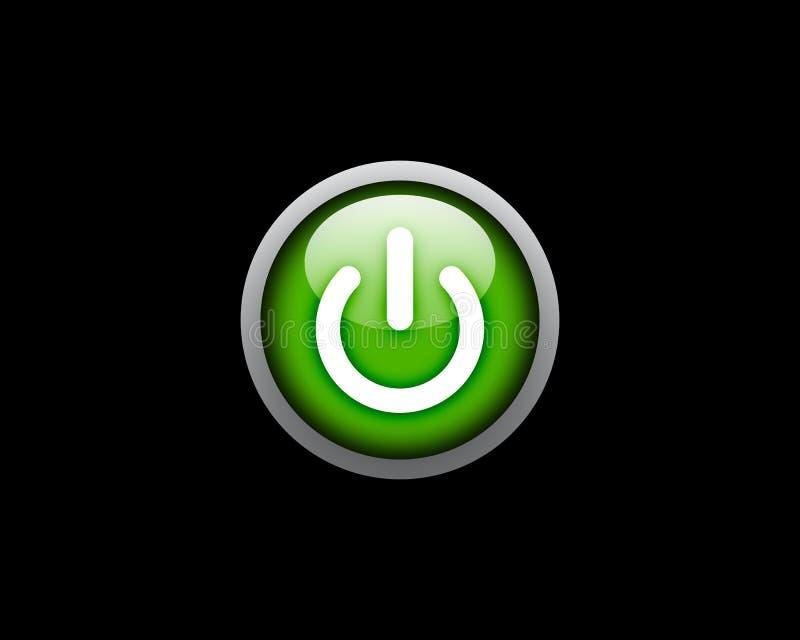 Taste der grünen Leistung auf schwarzem Hintergrund vektor abbildung