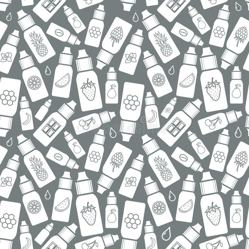 The taste of the electronic cigarette, pattern of E-Liquid. Vector seamless pattern of different flavor. The taste of the electronic cigarette, pattern of E vector illustration