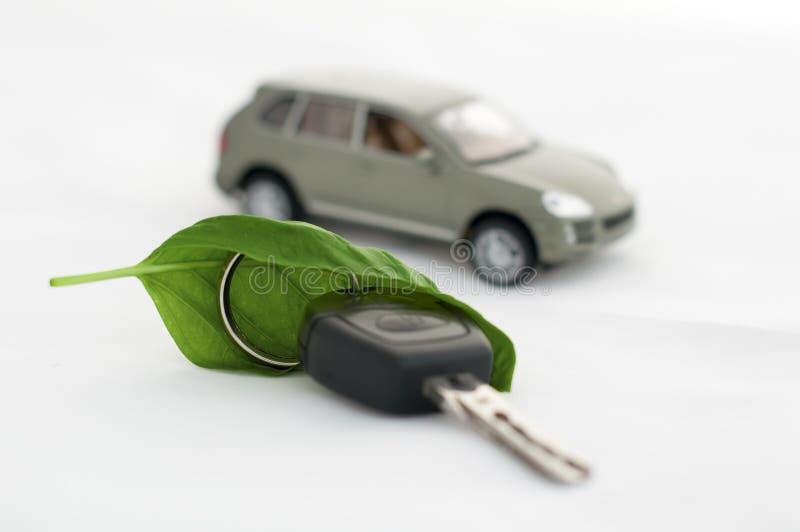 Taste, Grünurlaub und ein Auto. Ökologieauffassung stockfoto