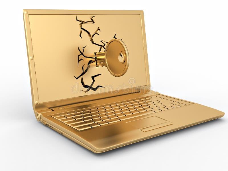 Taste im Laptop auf weißem getrenntem Hintergrund vektor abbildung