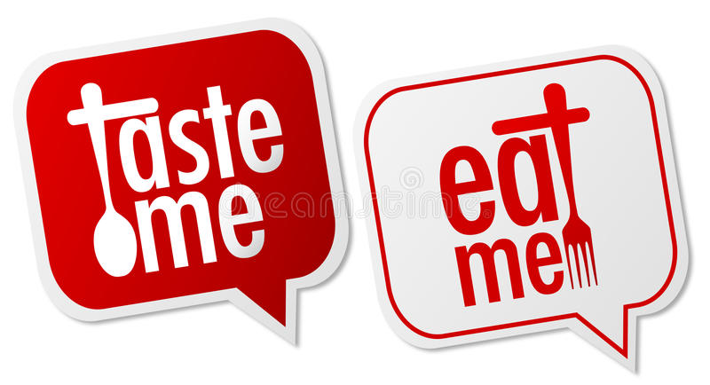 Taste me & eat me labels. With shadow on white background royalty free illustration