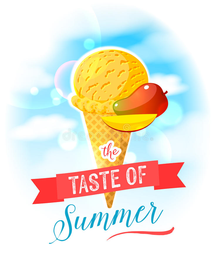 The taste of summer. Bright colorful poster with mango ice cream cone on the sky background. Design template for AD, promo, menu, flyer. Vector illustration vector illustration
