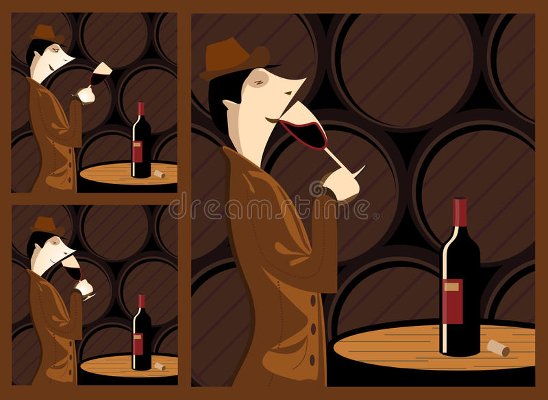 Taste wine. The three steps in tasting a wine barrel cellar with a wine cellar as a stage. The three steps are sight, smell and taste stock illustration