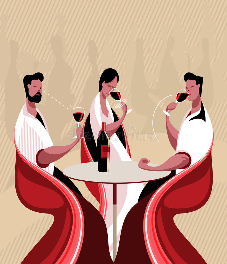 Taste wine. The three steps in tasting a wine are sight, smell and taste stock illustration