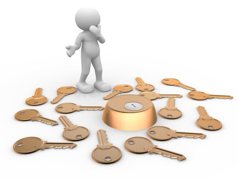 Tasten und Schlüsselloch lizenzfreie abbildung