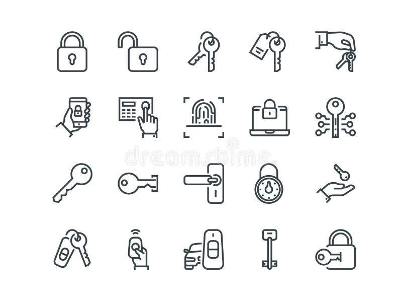 Tasten und Verriegelungen Satz Entwurfsvektorikonen Schließt wie Autoschlüssel, -fingerabdruck und -anderer ein vektor abbildung