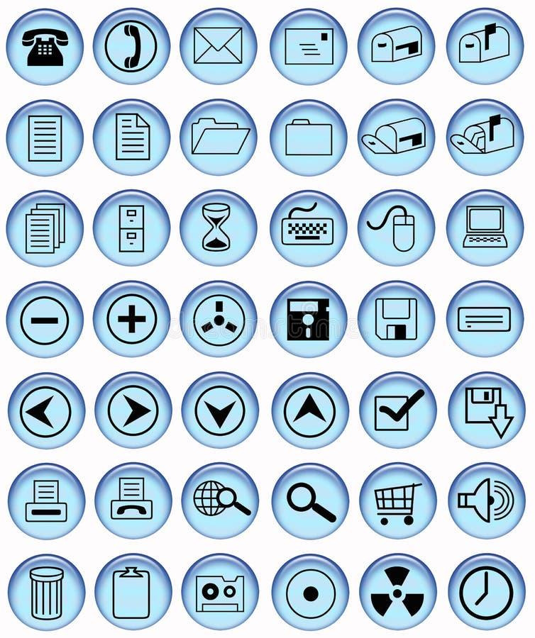 Tasti blu-chiaro dell'ufficio illustrazione di stock